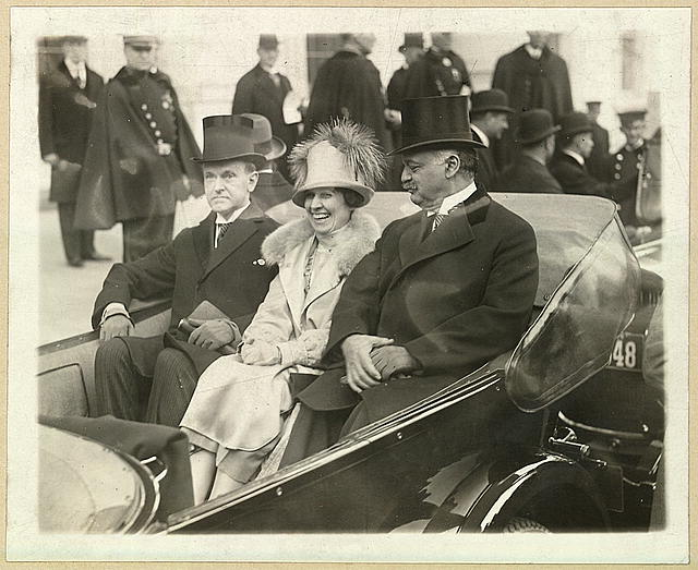 President Coolidge, Mrs. Coolidge and Senator Curtis on the way to the Capitol, March 4th, 1925. (Library of Congress)
