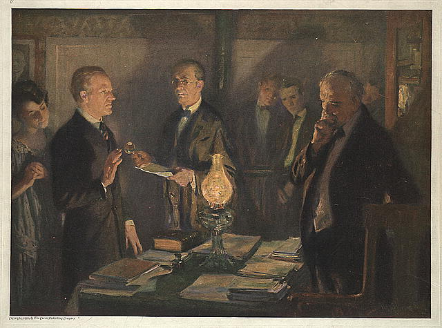'The Swearing in of Calvin Coolidge by his Father' Artist: Arthur I. Keller. Oil on canvas, c. 1923 (Library of Congress)