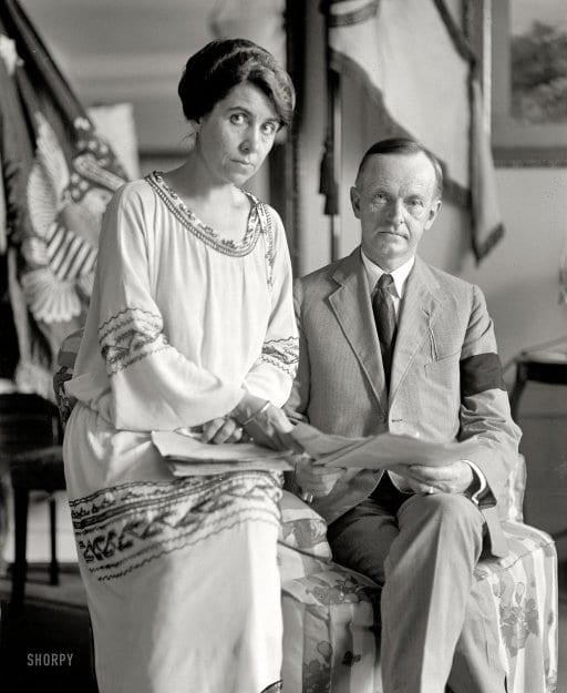 Calvin and Grace Coolidge in mourning after President Harding's death - August 4th, 1923 (Shorpy)