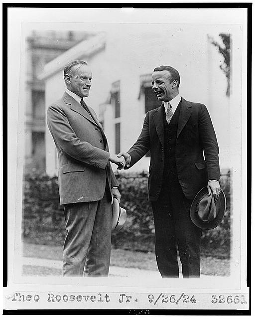 Teddy Roosevelt, Jr. shaking hands with Coolidge, September 26th, 1924 (Library of Congress)